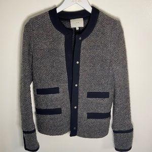 Iro Grey Wool Blazer Jacket Tweed Twill Button Front Classic Preppy Careerwear